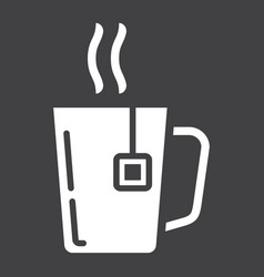 Mug of tea solid icon business and breakfast vector
