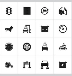 set of 16 editable vehicle icons includes symbols vector image vector image