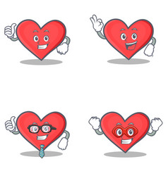set of heart character with proud okay businessman vector image vector image