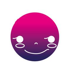 Silhouette kawaii head with cute rogue face vector