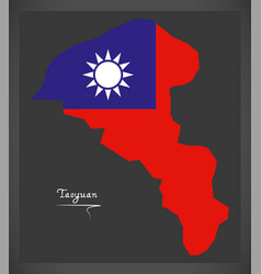 Taoyuan taiwan map with taiwanese national flag vector