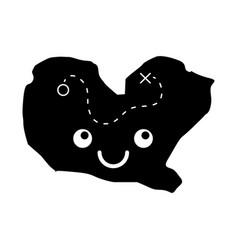 Treasure map game kawaii character vector