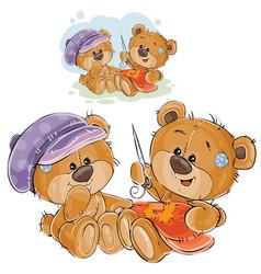 two brown teddy bears vector image