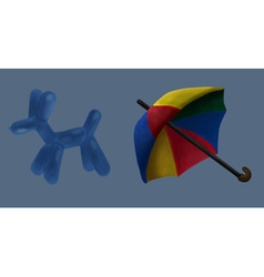 Umbrella and balloon circus vector image