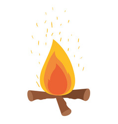 White background with campfire and fire sparks vector