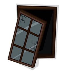 wooden window with poor condition vector image vector image