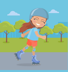 young girl in helmet roller skate in park vector image