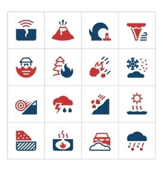 Set color icons of natural disaster vector