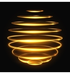 Gold circle light tracing effect glowing magic 3d vector
