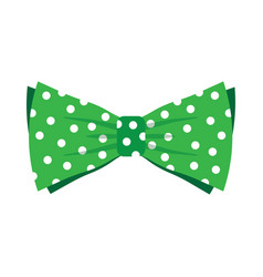 elegant green bow tie with white polka dots vector image