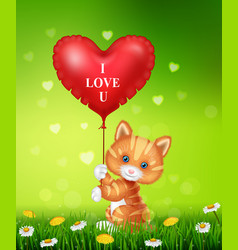 Cartoon cat holding red heart balloons vector