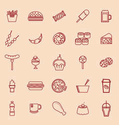 Fast food line color icons on brown background vector