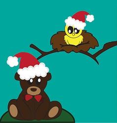 Bird and bear holidays vector image