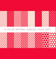 16 patterns seamless polka dots set red background vector