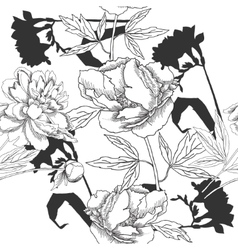 Black and white seamless pattern with flowers-01 vector