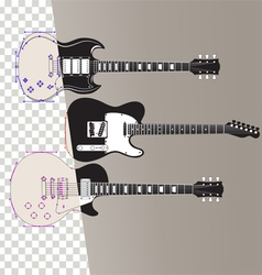 Guitars in outline vector