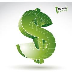 3d mesh stylish web green dollar sign isolated on vector