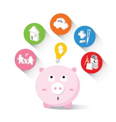 Piggy bank and icons design to represent the conce vector