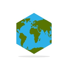 Hexagonal atlas of earth world map with continents vector