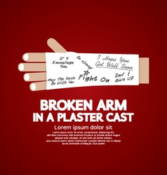 Broken arm in a plaster cast vector