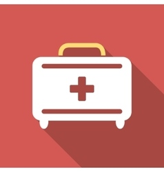 First aid toolkit flat square icon with long vector