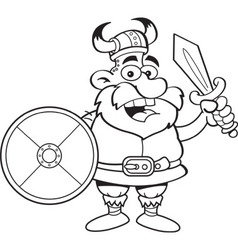 Cartoon viking holding a sword and a shield vector