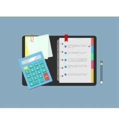 Calculator notepad note paper and pencil lie on vector