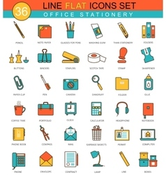 Office stationery flat line icon set vector