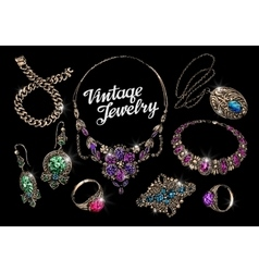 Vintage jewelry with gems hand-drawn gold and vector