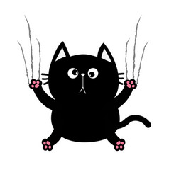 Black fat cat nail claw scratch glass cute vector