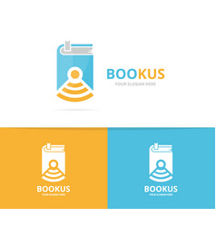 book and wifi logo combination novel and vector image vector image