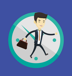 Business man running on clock background vector