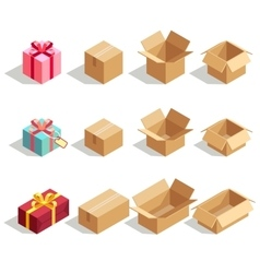 Cardboard gift boxes opened and closed 3d vector