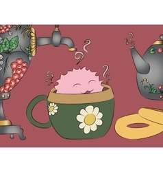 Cartoon monster tea cup samovar khokhloma teapot vector