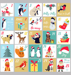 Christmas advent calendar winter holidays poster vector