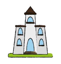 Church cartoon flat draw vector