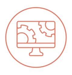 Computer monitor with gears line icon vector