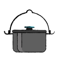 Drawing pot food element camping vector