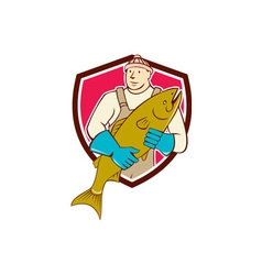 Fishmonger holding salmon fish shield cartoon vector