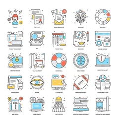 Flat Color Line Icons 14 vector image vector image