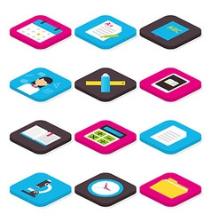 Flat school education and learning isometric icons vector