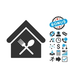 Food Court Flat Icon with Bonus vector image vector image