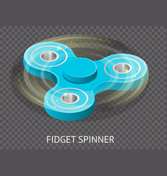 Isometric 3d a blue fidget spinner or hand vector