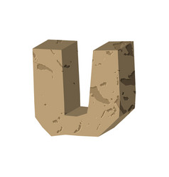 letter u stone font rock alphabet symbol stones vector image vector image