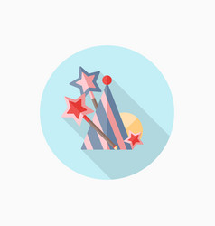 magic wand and birthday hat flat icon vector image