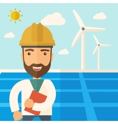 Man in solar panel and windmills vector