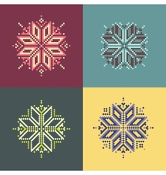 Pixel Snowflakes vector image vector image