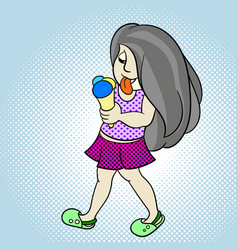 pop art child girl with ice cream on a summer day vector image vector image