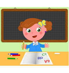 Schoolgirl and blank black board vector