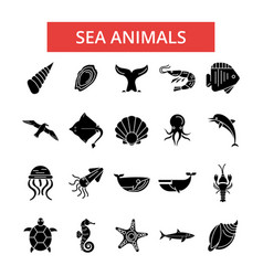 sea animals thin line icons linear vector image vector image
